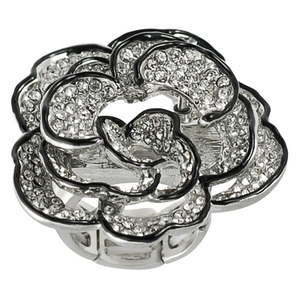 Journee Collection Stainless Steel Czech Crystal Flower Stretch Ring