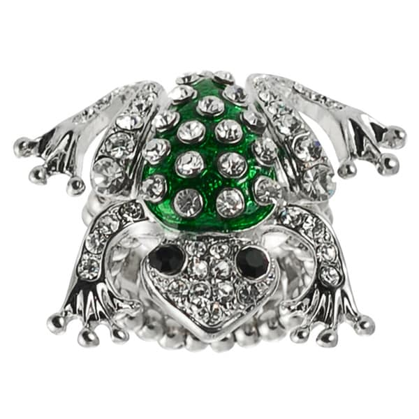 Journee Collection Stainless Steel White Crystal Frog Stretch Ring
