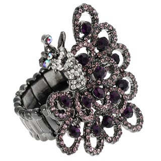 Journee Collection Rhodium-plated Stainless Steel Peacock Stretch Ring