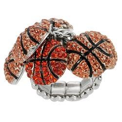 Journee Collection Bronzetone Orange Crystal Basketball Stretch Ring