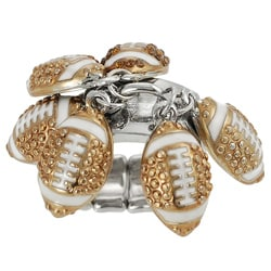 Journee Collection Bronzetone Steel Crystal Football Stretch Ring