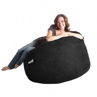 Round Black Microfiber and Foam Bean Bag (4' round)