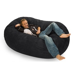 Black Microfiber and Memory Foam Bean Bag (6' oval)