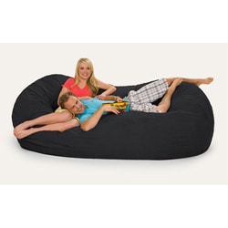 Black Microfiber and Memory Foam Bean Bag Chair (8' Oval)