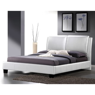 Sabrina White Modern Queen-size Bed with Overstuffed Headboard