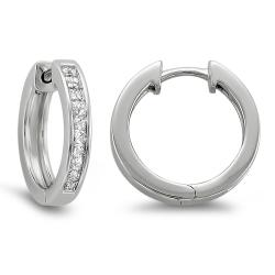 14k White Gold 1/2ct TDW Princess-cut Diamond Hoop Earrings (H-I, I1-I2)