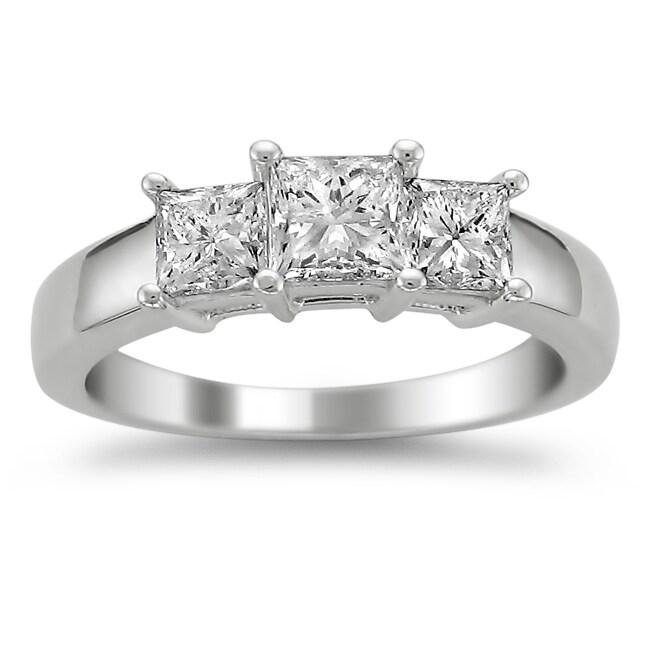 14k White Gold 1 1/2ct TDW Diamond 3-stone Engagement Ring (H-I, VS2)