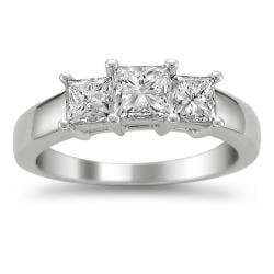 14k White Gold 1 1/2ct TDW Diamond 3-stone Engagement Ring (H-I, VS2)