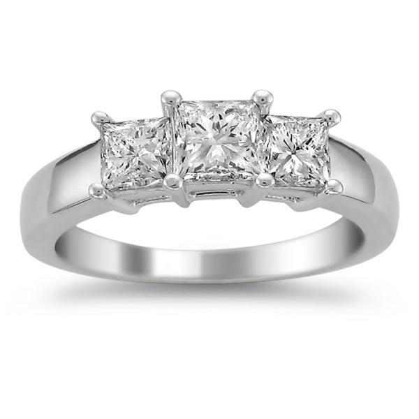 Montebello 14k White Gold 1 1/2ct TDW Diamond 3-stone Engagement Ring (H-I, I1-I2)