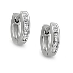 14k White Gold 1/4ct TDW Princess Diamond Cuff Hoop Earrings (H-I, I1-I2)
