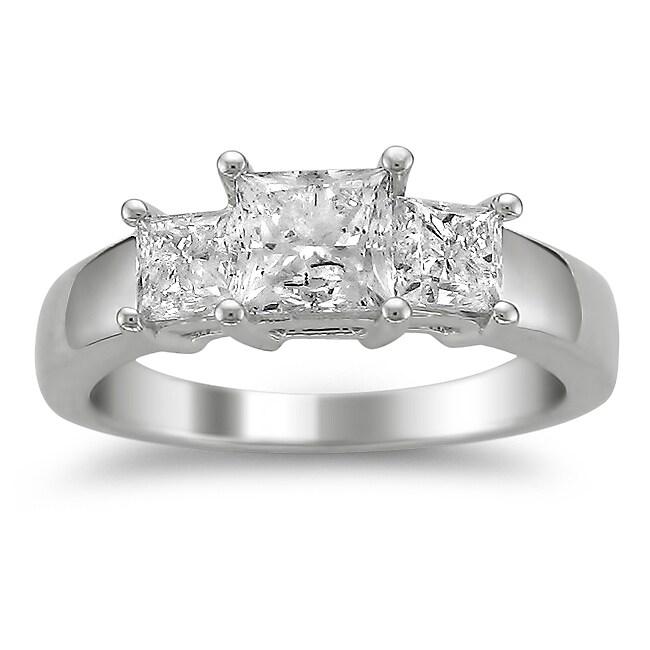 14k White Gold 2ct TDW Diamond 3-stone Engagement Ring (H-I, I1-I2)