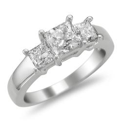 14k White Gold 2ct TDW Diamond 3-stone Engagement Ring (H-I, I1-I2)
