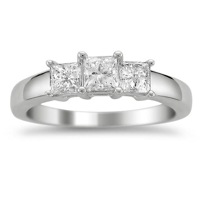 14k White Gold 1ct TDW Diamond 3-stone Engagement Ring (H-I, I1)