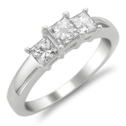 14k White Gold 1ct TDW Diamond 3-stone Engagement Ring (H-I, I1-I2)