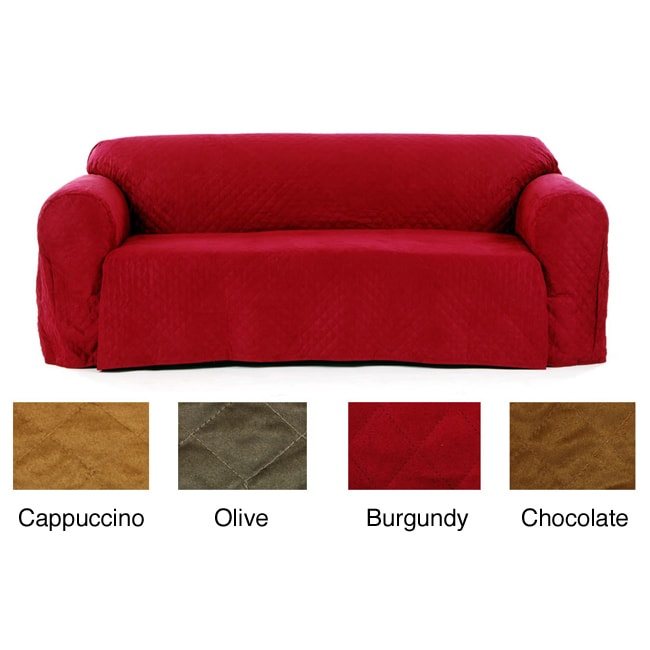 Quilted Micro Suede Sofa Slipcover - Overstock Shopping - Big Discounts on Classic Slipcovers ...