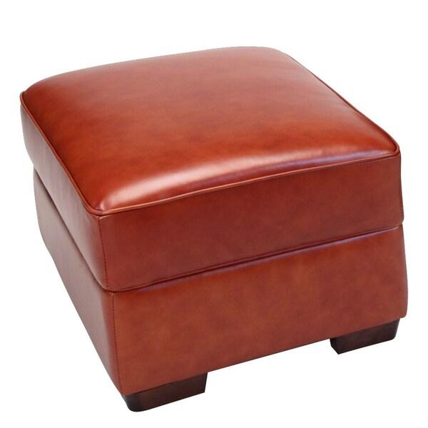 Giorgio Cognac Brown Leather Storage Ottoman