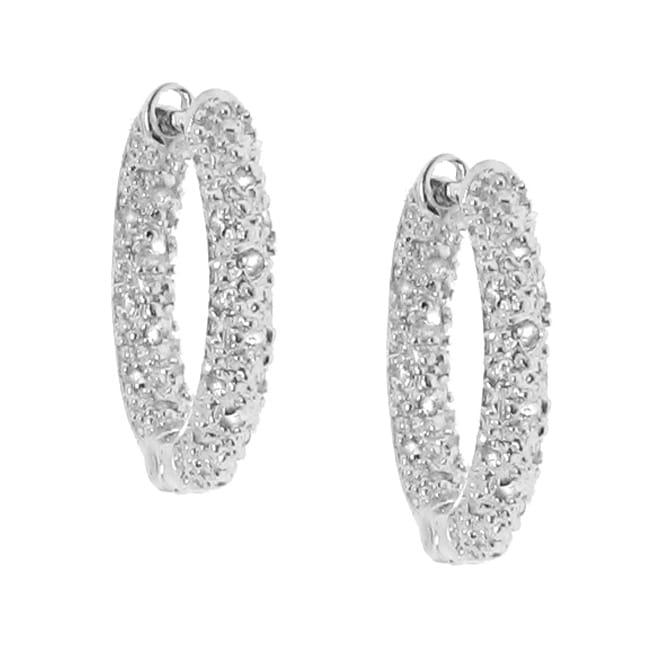 Silver 1/5ct TDW Diamond Hoop Earrings (H-I, I2-I3)