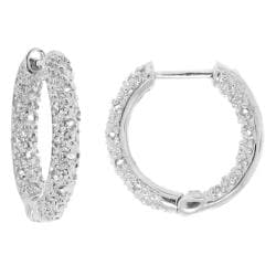 Moise Silver 1/5ct TDW Diamond Hoop Earrings (H-I, I2-I3)