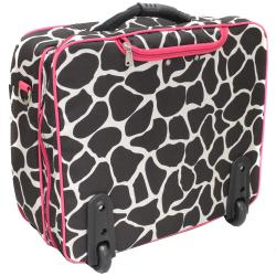 World Traveler Pink Trim Giraffe Fashion Print Women's Rolling 17-inch Laptop Briefcase