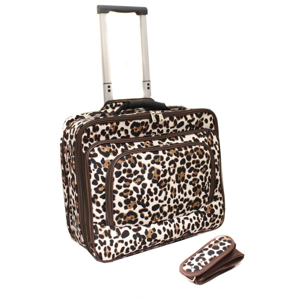 World Traveler Leopard Fashion Print Women's Rolling 17-inch Laptop Briefcase