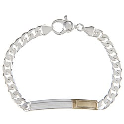 Sterling Silver and 18k Gold 5-mm Bordered ID Link Bracelet