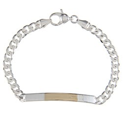 Sterling Silver and 18k Gold 4-mm Parallel Line ID Link Bracelet