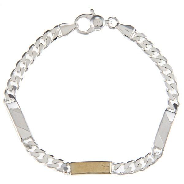 Sterling Silver and 18k Gold 4.5-mm Three-bar Link Bracelet