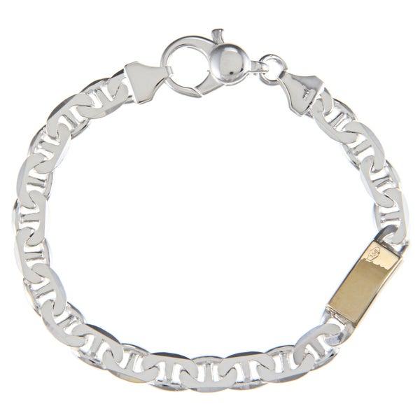 Sterling Silver and 18k Gold 7-mm Single Bar Link Bracelet