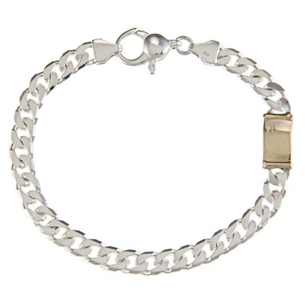 Sterling Silver and 18k Gold 6-mm Single Bar Link Bracelet