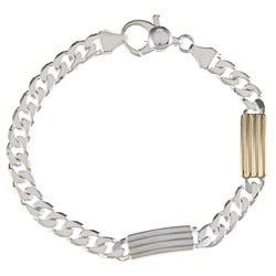 Sterling Silver and 18k Gold 7-mm Striped Bar Link Bracelet
