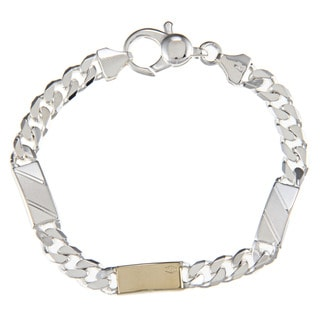 Sterling Silver and 18k Gold 7-mm Triple Bar Link Bracelet