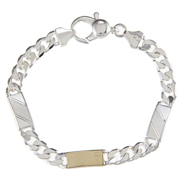 Sterling Silver and 18k Gold 7-mm Triple Bar Link Bracelet