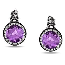 Miadora 10k White Gold Amethyst and 1/5ct TDW Diamond Halo Earrings (H-I, I2-I3)