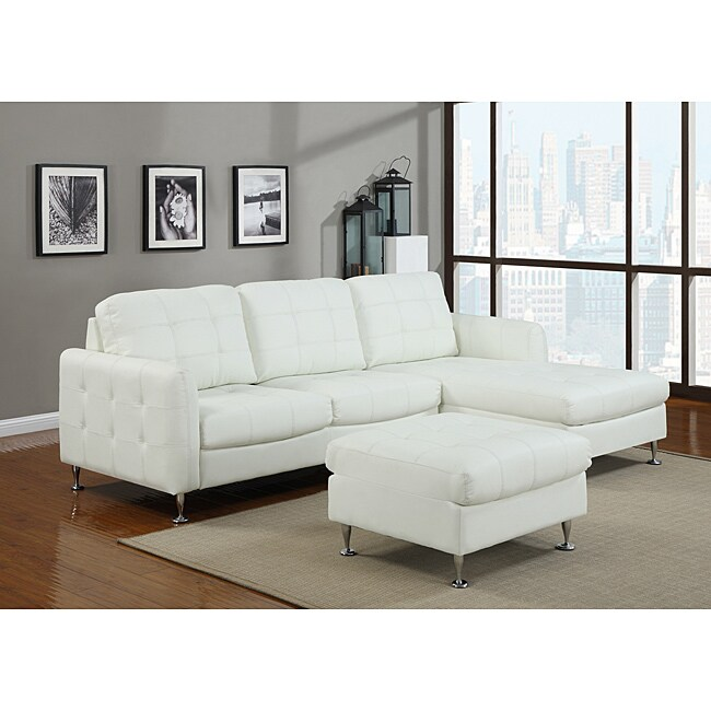 fresh new look with this Amanda white faux leather sofa set. This set