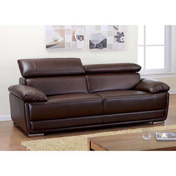 Kyle Brown Bonded Leather Sofa