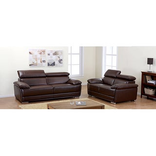 Kyle Brown Bonded Leather Sofa and Loveseat Set
