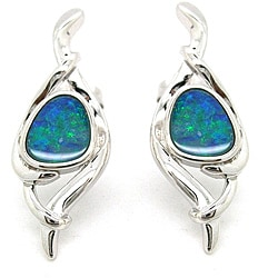 Pearlz Ocean Sterling Silver Boulder Opal Stud Earrings