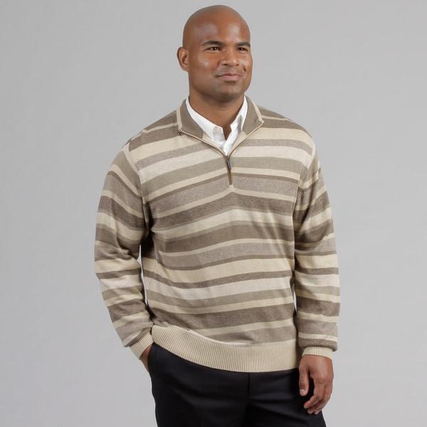 Alex Cannon Men's Multi Stripe Quarter Zip Sweater