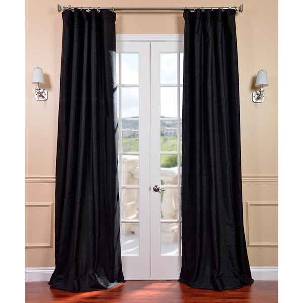 Black Dupioni Silk 108-inch Curtain Panel