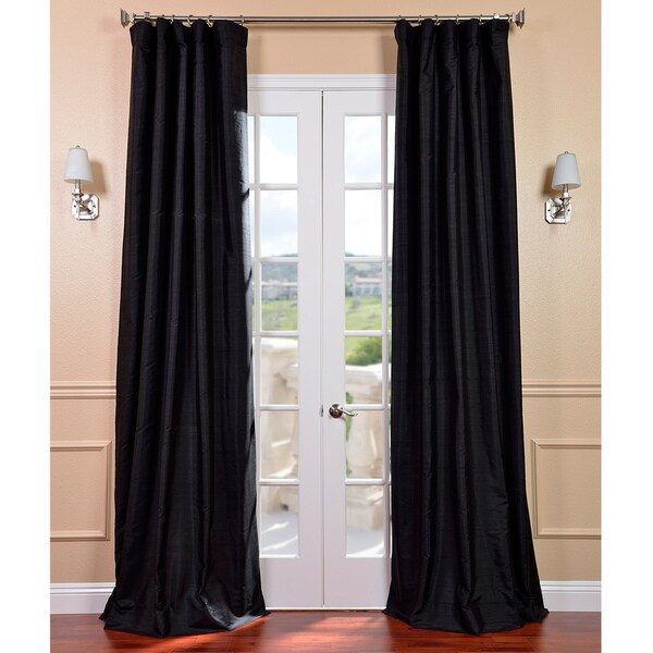 Black Dupioni Silk Curtain Panel