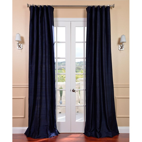 Navy Dupioni Silk 120-inch Curtain Panel