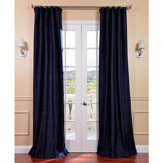 Navy Dupioni Silk 84-inch Curtain Panel