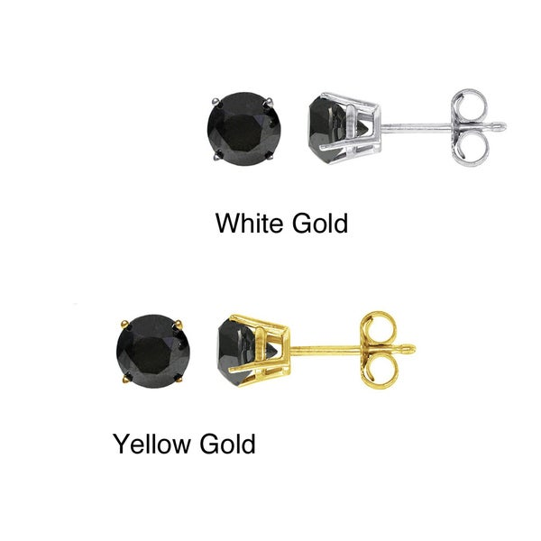 14K Gold 1ct TDW Round Black Diamond Stud Earring