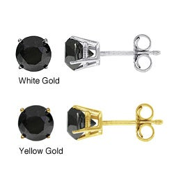 14k Gold 2ct TDW Black Diamond Stud Earrings