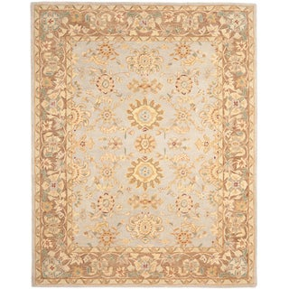 Hand-made Antiquities Teal/ Brown Hand-spun Wool Rug (5' x 8')