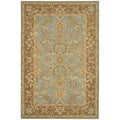 Hand-made Antiquities Teal/ Brown Hand-spun Wool Rug (6' x 9')