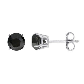 14k Gold 1ct TDW Black Diamond Stud Earrings