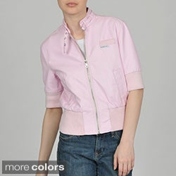 Members Only Women's Faux Leather Short Sleeve Bomber Jacket