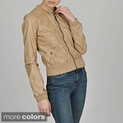 Members Only Women's Faux Leather Crew Neck Bomber Jacket