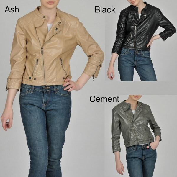 Members Only Women's Faux Leather Asymmetrical Zip Bomber Jacket